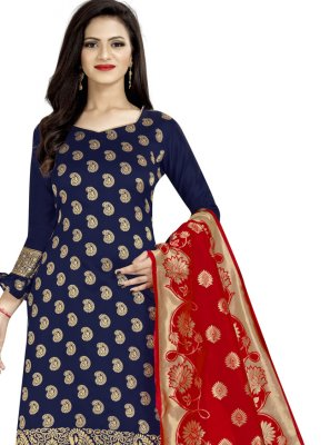 Banarasi Silk Churidar Designer Suit in Navy Blue