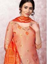 Banarasi Silk Churidar Designer Suit in Peach