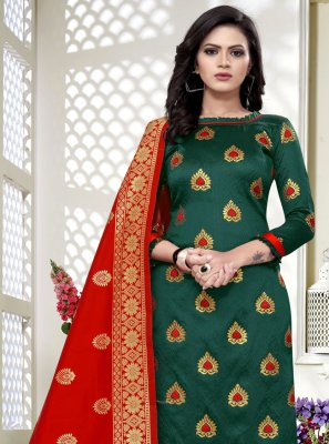 Banarasi Silk Churidar Salwar Suit in Green