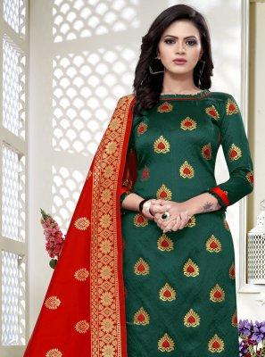 Banarasi Silk Churidar Salwar Suit in Green