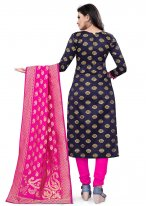 Banarasi Silk Churidar Suit in Navy Blue