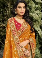 Banarasi Silk Designer Half N Half Saree in Beige and Orange