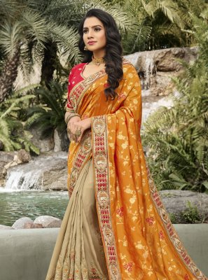Banarasi Silk Designer Half N Half Saree in Beige and Orange