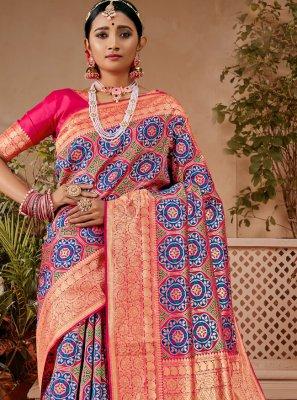 Banarasi Silk Designer Traditional Saree in Blue and Pink