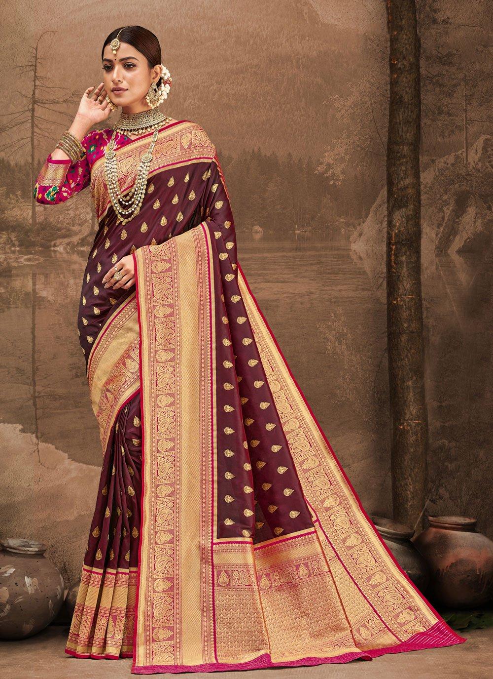 Banarasi Silk Designer Traditional Saree in Wine
