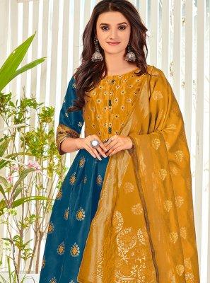 Banarasi Silk Embroidered Blue Anarkali Salwar Kameez
