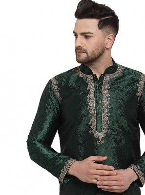 Banarasi Silk Embroidered Kurta in Green