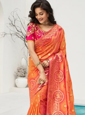 Banarasi Silk Embroidered Orange Traditional Saree