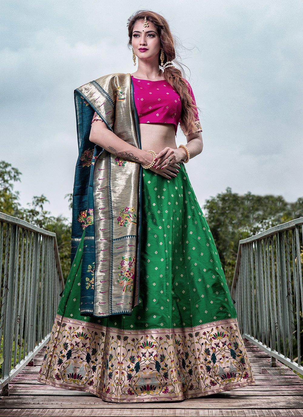 Banarasi Silk Engagement A Line Lehenga Choli