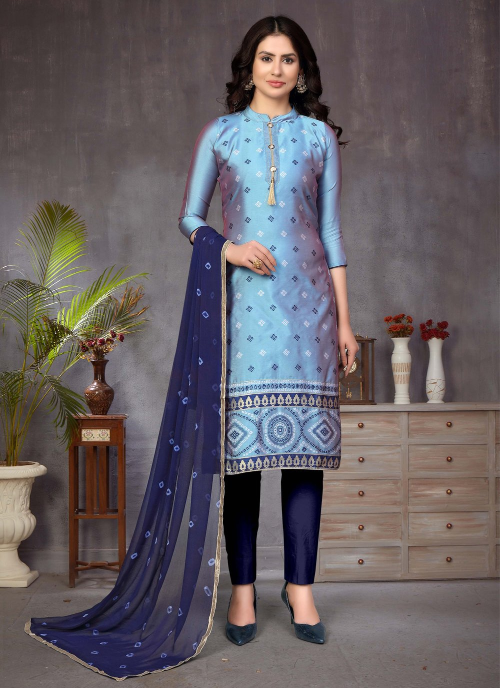 Banarasi Silk Fancy Churidar Suit