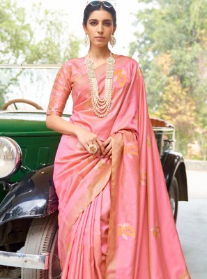 Banarasi Silk Fancy Designer Traditional Saree in Pink