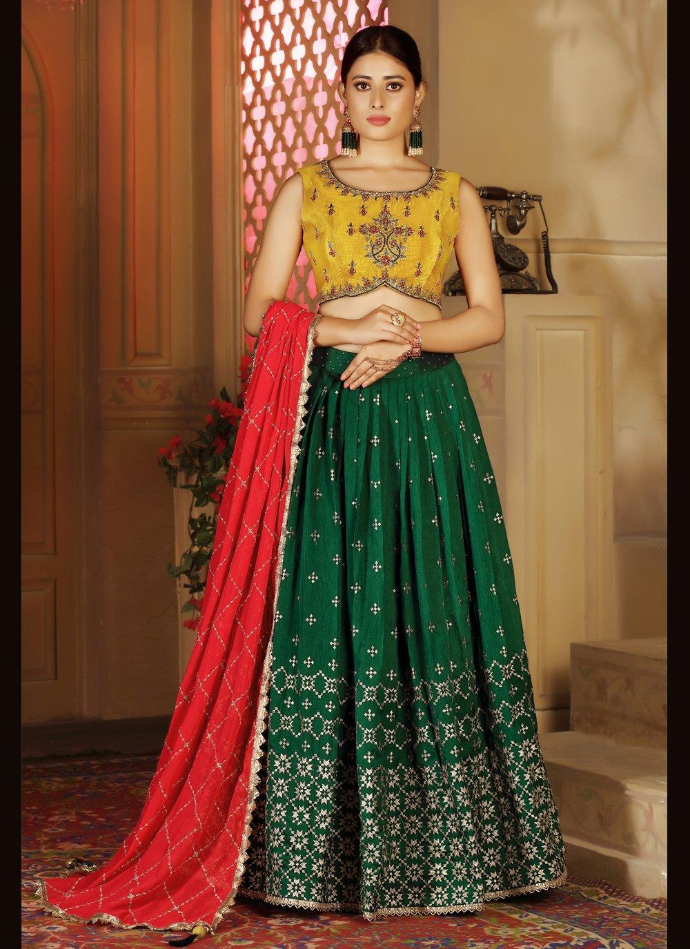 Banarasi Silk Fancy Readymade Lehenga Choli in Green