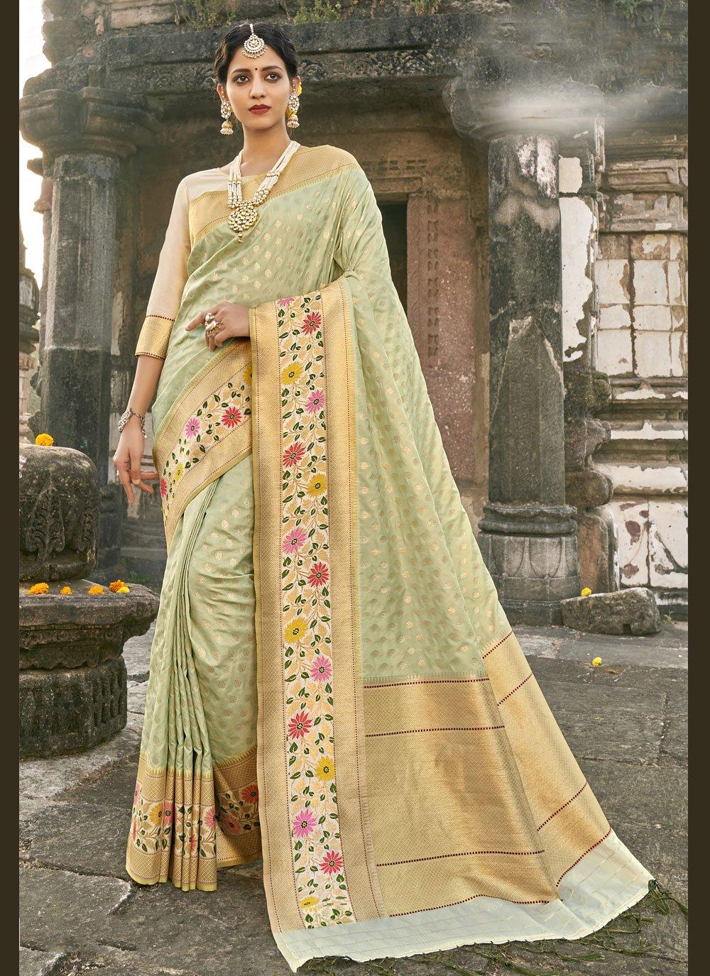 Banarasi Silk Fancy Sea Green Designer Traditional Saree