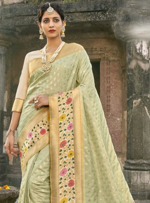 Banarasi Silk Fancy Sea Green Designer Traditional Saree