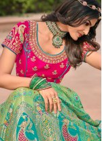 Banarasi Silk Green and Pink Resham Bollywood Lehenga Choli