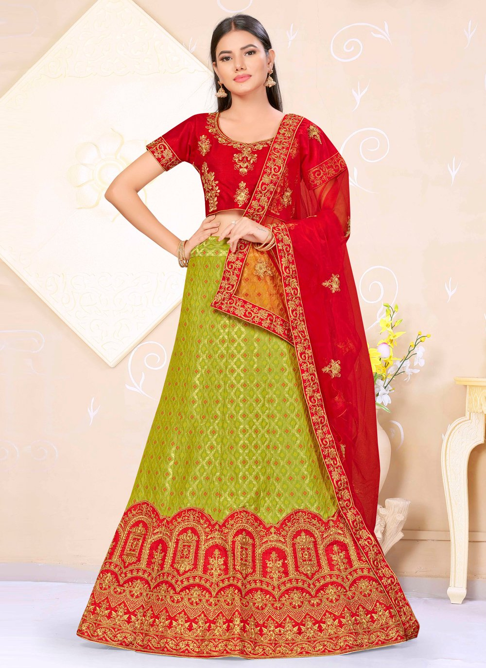 Banarasi Silk Green and Red Lehenga Choli
