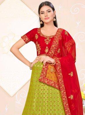 Banarasi Silk Green and Red Lehenga Choli