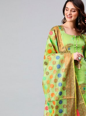 Banarasi Silk Green Designer Suit