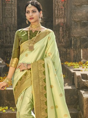 Banarasi Silk Green Fancy Traditional Designer Saree