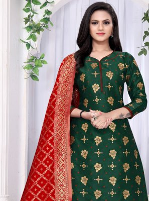 Banarasi Silk Green Punjabi Suit