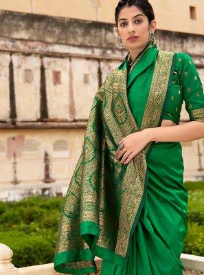 Banarasi Silk Green Weaving Bollywood Saree