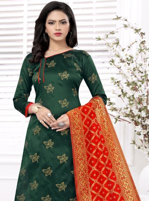 Banarasi Silk Green Weaving Churidar Salwar Suit