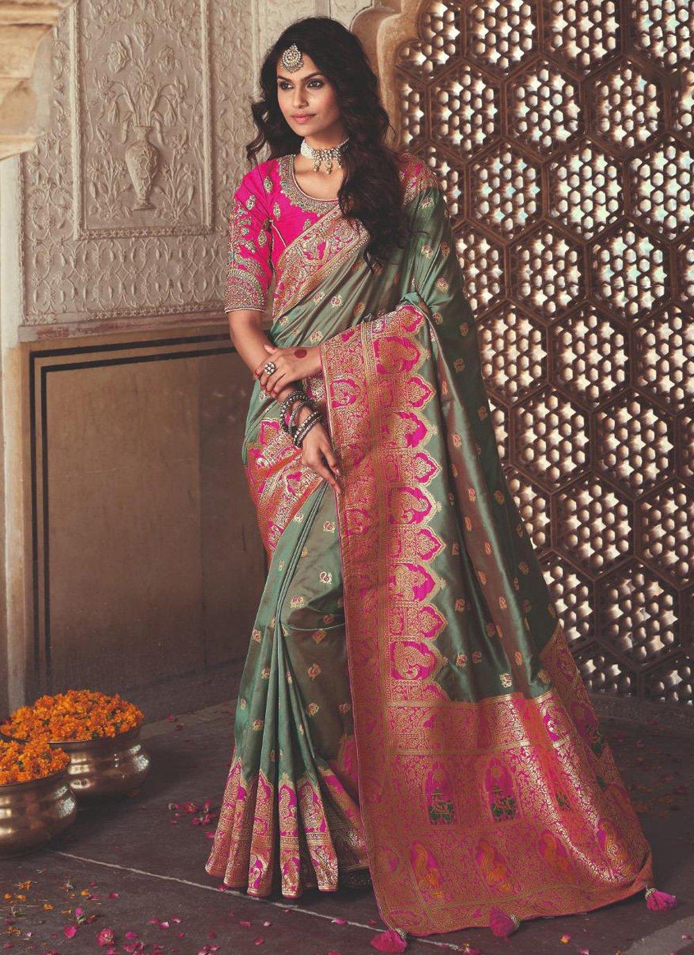 Banarasi Silk Green Weaving Designer Saree