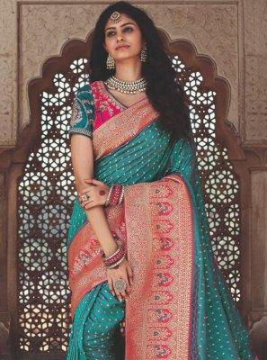 Banarasi Silk Green Weaving Designer Traditional Saree