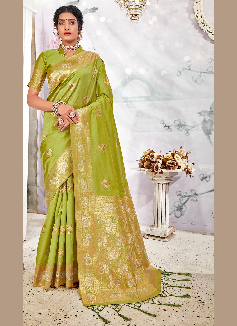 Banarasi Silk Green Weaving Traditional Saree
