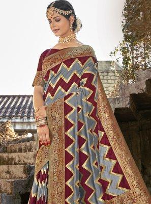 Banarasi Silk Grey and Maroon Weaving Designer Traditional Saree