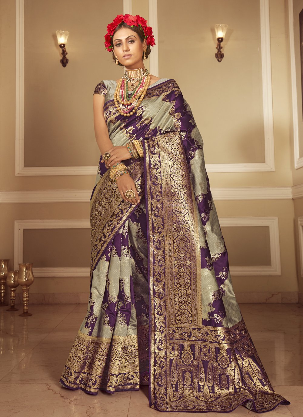 Banarasi Silk Grey and Purple Designer Traditional Saree