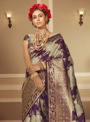 Banarasi Silk Grey and Purple Designer Traditional Saree
