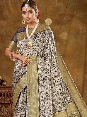 Banarasi Silk Grey Woven Traditional Designer Saree