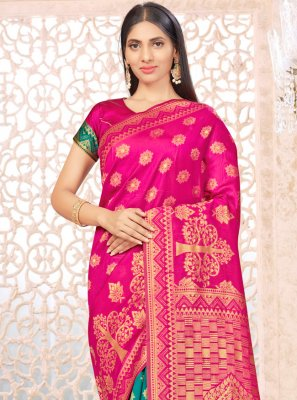Banarasi Silk Hot Pink and Sea Green Weaving Half N Half  Saree