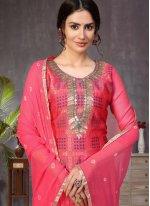 Banarasi Silk Hot Pink Fancy Churidar Designer Suit