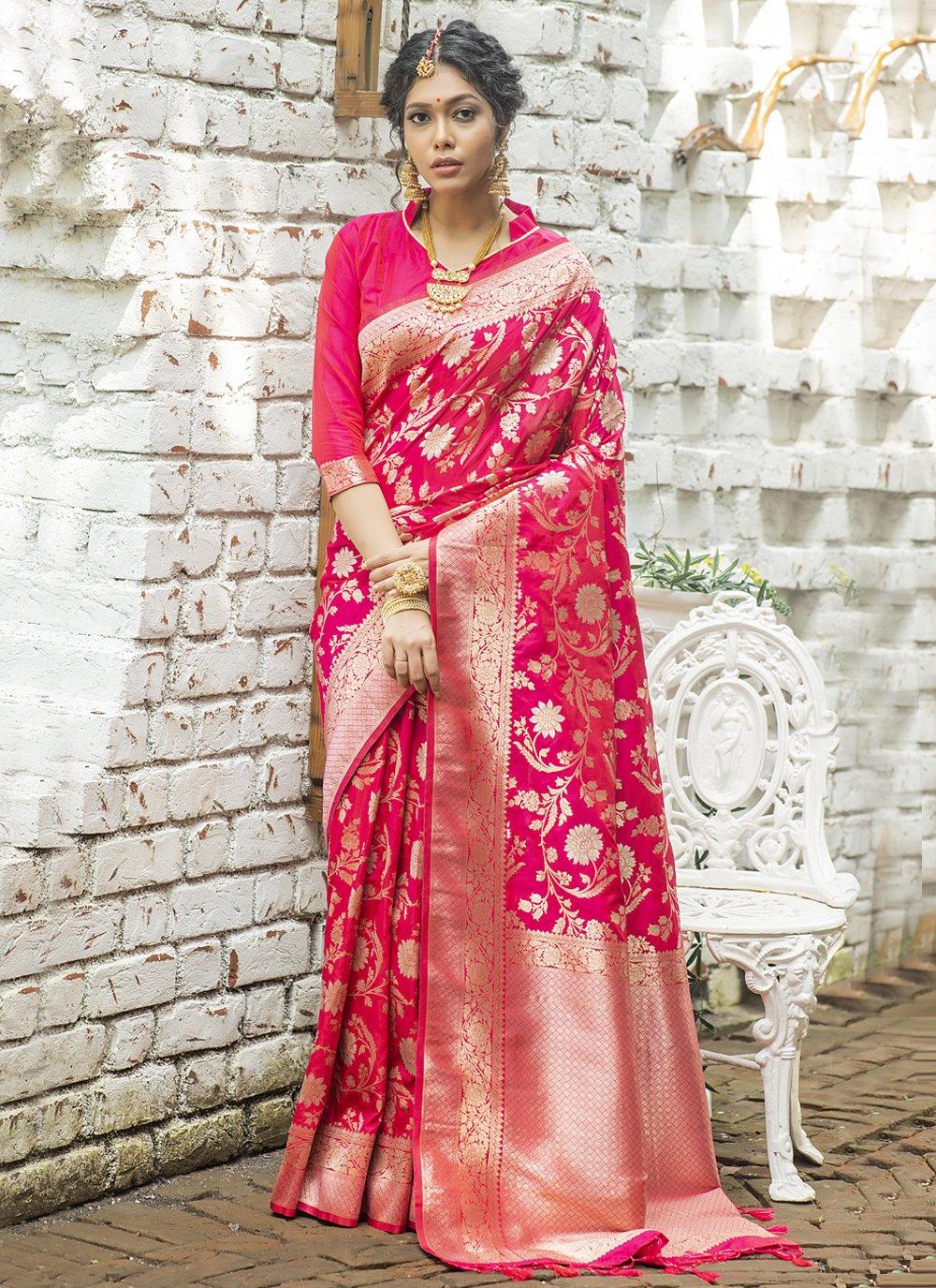 Banarasi Silk Hot Pink Weaving Traditional Designer Saree