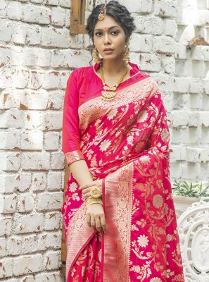 Banarasi Silk Hot Pink Weaving Traditional Designer Saree