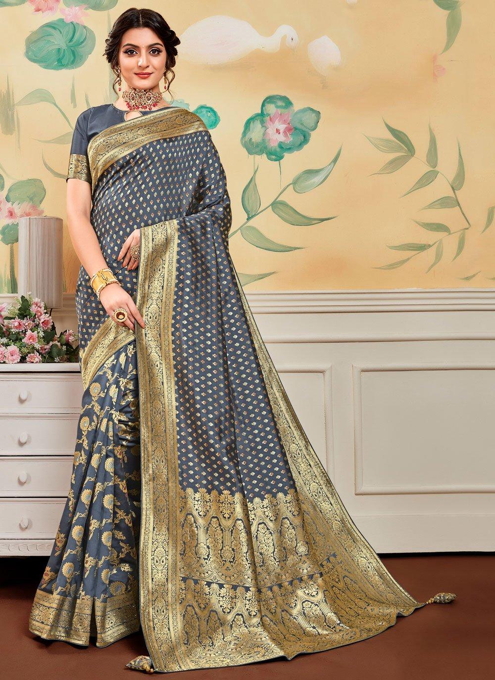 Banarasi Silk Jacquard Work Grey Traditional Designer Saree
