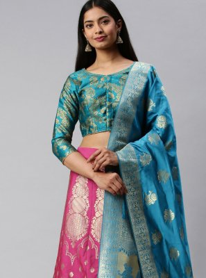 Banarasi Silk Lehenga Choli in Blue and Pink