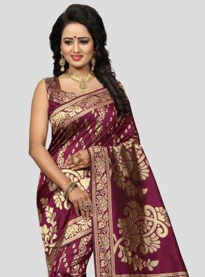 Banarasi Silk Magenta Woven Traditional Designer Saree