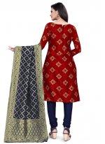 Banarasi Silk Maroon Churidar Salwar Suit