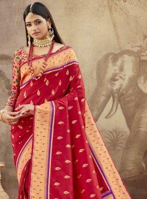 Banarasi Silk Maroon Designer Saree