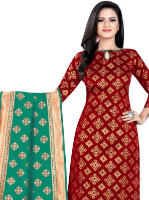 Banarasi Silk Maroon Weaving Churidar Suit