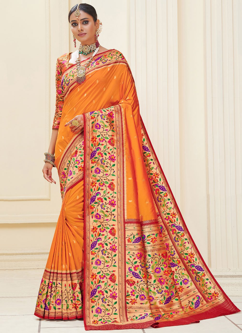 Banarasi Silk Mehndi Traditional Designer Saree