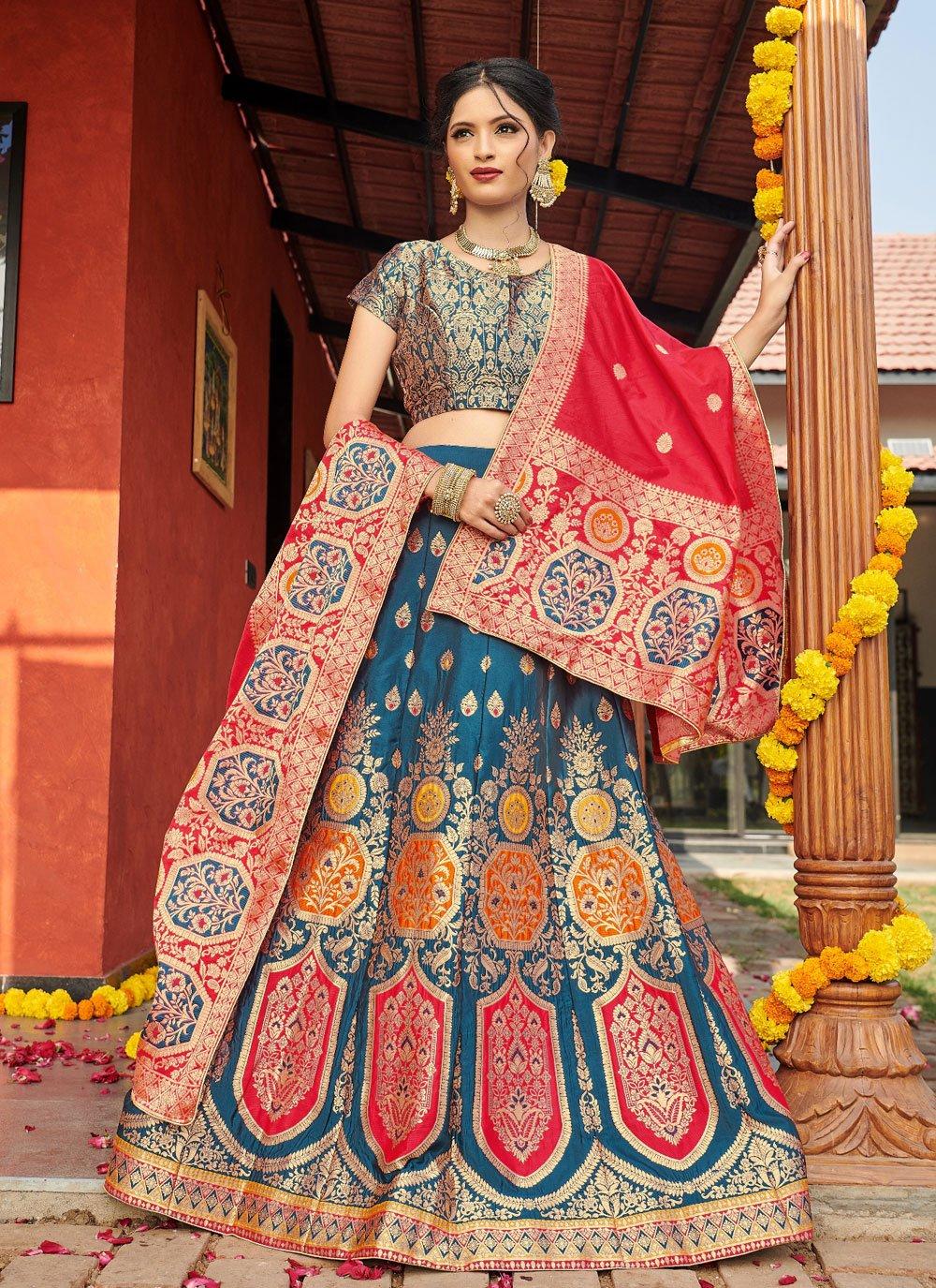 Banarasi Silk Multi Colour Weaving Lehenga Choli