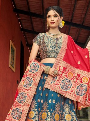 Banarasi Silk Multi Colour Weaving Lehenga Choli
