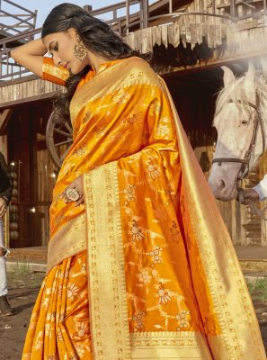 Banarasi Silk Mustard Traditional Saree