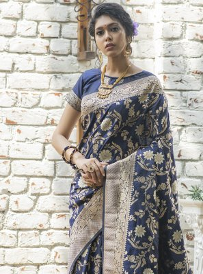 Banarasi Silk Navy Blue Designer Traditional Saree
