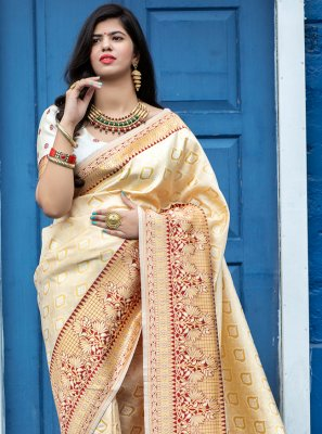 Banarasi Silk Off White Designer Traditional Saree