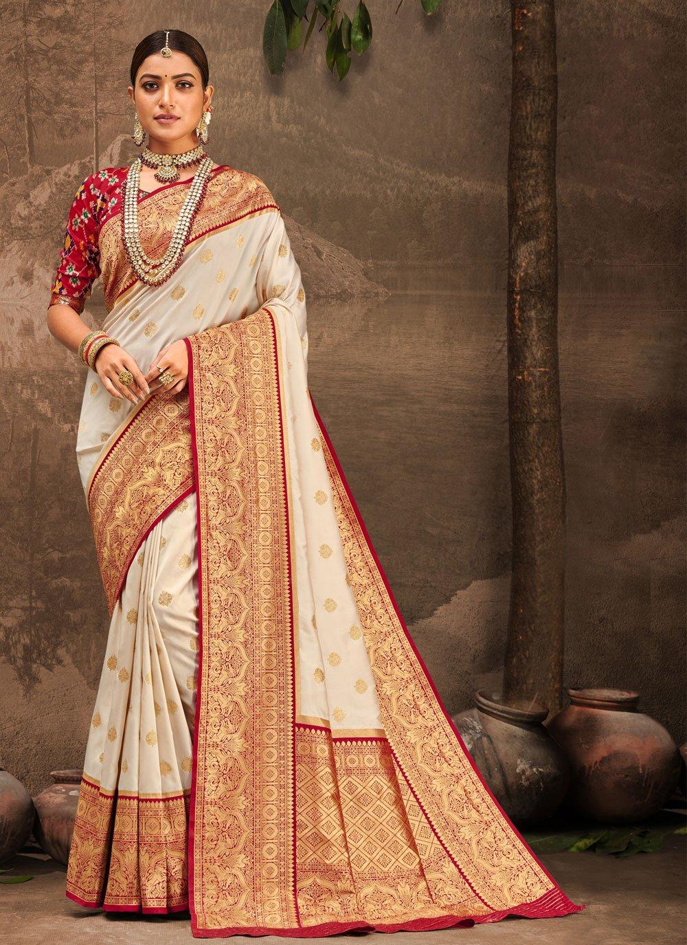 Banarasi Silk Off White Designer Traditional Saree